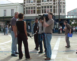 jon collins on location shoot in bognor regis west sussex